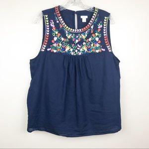J.crew floral embroidered peasant tank top medium